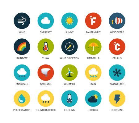 meteo: Icone rotonde di design piatto e sottile, la linea moderna di stile ictus, web e mobile elemento di design, oggetti e illustrazioni vettoriali icone set 23 - collezione meteo