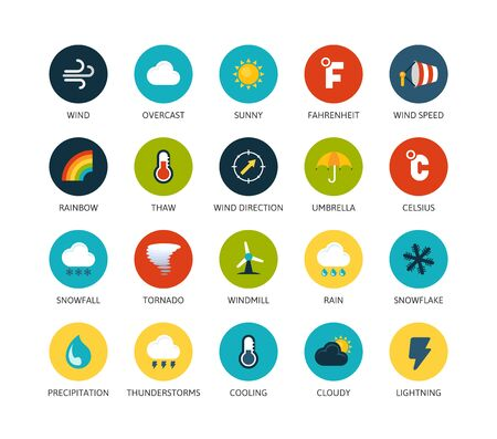 thunderstorms: Round icons thin flat design, modern line stroke style, web and mobile design element, objects and vector illustration icons set 23 - weather collection