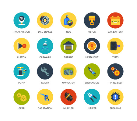 muffler: Round icons thin flat design, modern line stroke style, web and mobile design element, objects and vector illustration icons set 24 - car parts and services collection