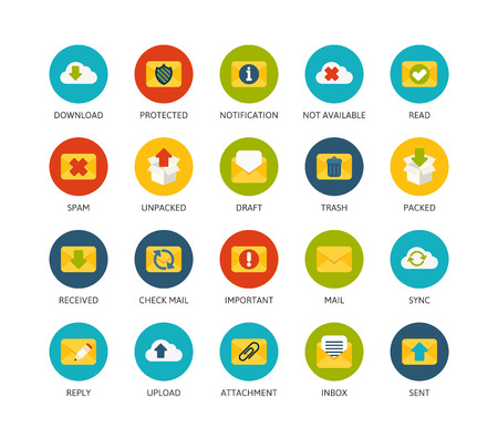 received: Round icons thin flat design, modern line stroke style, web and mobile design element, objects and vector illustration icons set 7 - mail and cloud collection