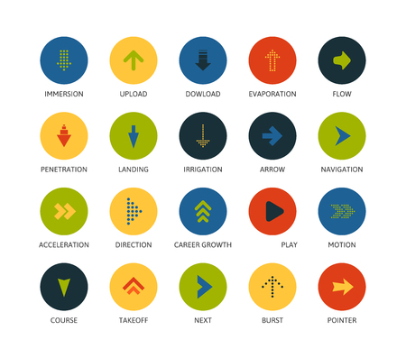 inmersion: Round icons thin flat design, modern line stroke style, web and mobile design element, objects and vector illustration icons  set 28 - signs arrows collection Vectores