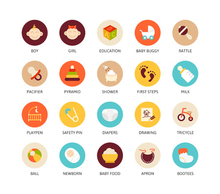 childhood: Round icons thin flat design, modern line stroke style, web and mobile design element, objects and vector illustration icons set 27 - baby and childhood collection
