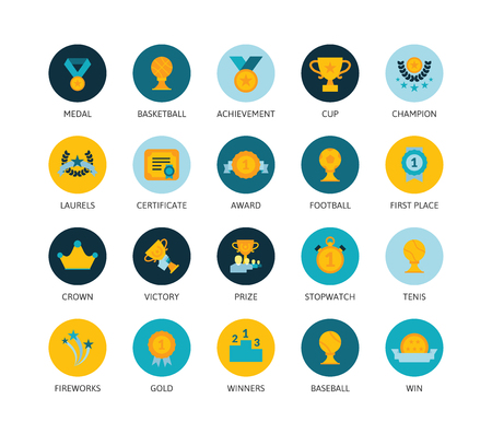 an achievement: Round icons thin flat design, modern line stroke style, web and mobile design element, objects and vector illustration icons set 28 - winning prizes and awards collection Illustration