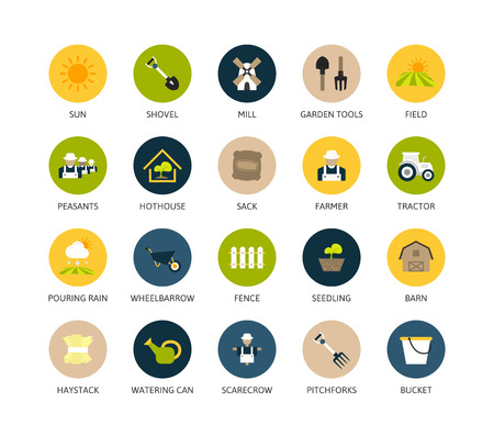 Round icons thin flat design, modern line stroke style, web and mobile design element, objects and vector illustration icons set 26 - farm and farming collection