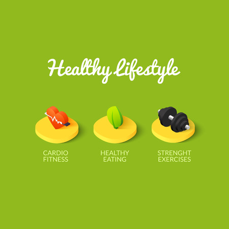 strenght: Healthy lifestyle icons - cardio fitness, fresh eating and strenght exercises vector illustration Illustration