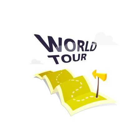 tour guide: World tour concept   isolated on white background, long route in travel map with guide marker, vector illustration