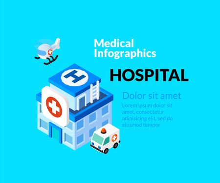 reanimation: Medical healthcare infographic set with isometric flat icons, included hospital concept, vector illustration background