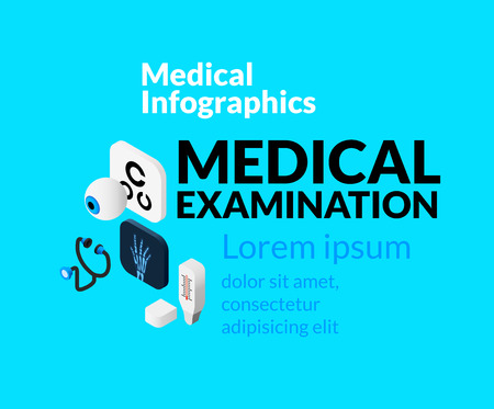 reanimation: Medical healthcare infographic set with isometric flat icons, medical examination concept, vector illustration background Illustration