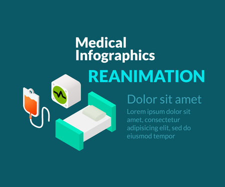 reanimation: Medical healthcare infographic set with isometric flat icons, reanimation concept, vector illustration background