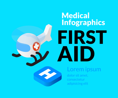 reanimation: Medical healthcare infographic set with isometric flat icons, first aid concept, vector illustration background