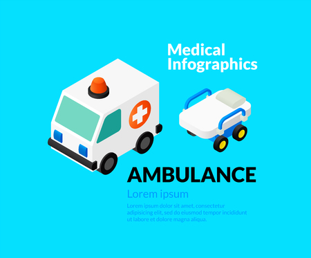 reanimation: Medical healthcare infographic set with isometric flat icons, ambulance concept, vector illustration background