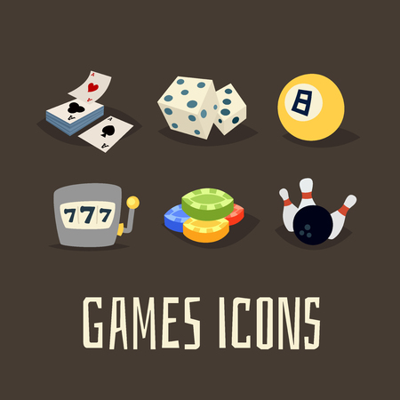 games of chance: Gambling icons set, games of chance  , vector illustration in cartoon style