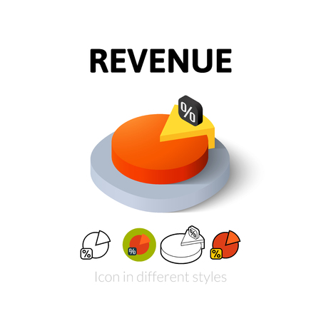 revenue: Revenue icon, vector symbol in flat, outline and isometric style