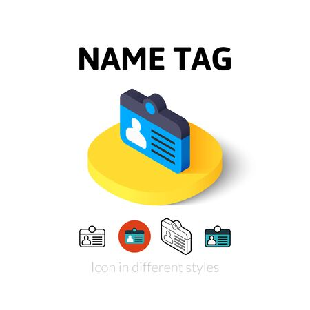 photo icon: Name tag icon, vector symbol in flat, outline and isometric style Illustration