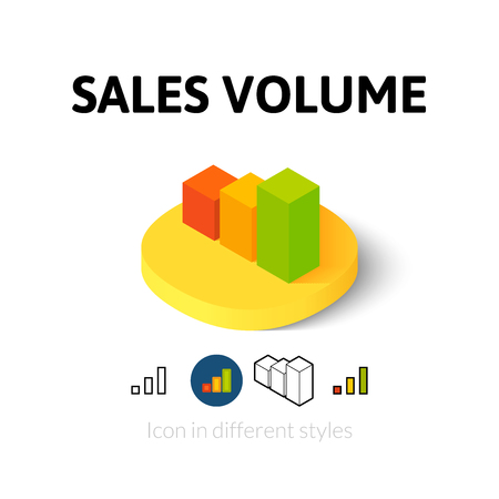Sales volume icon, vector symbol in flat, outline and isometric style