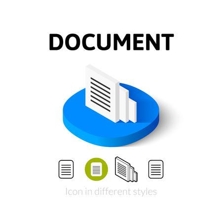 Document pictogram, vector symbool in flat, schets en isometrische stijl