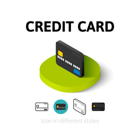 Credit card icon, vector symbol in flat, outline and isometric style