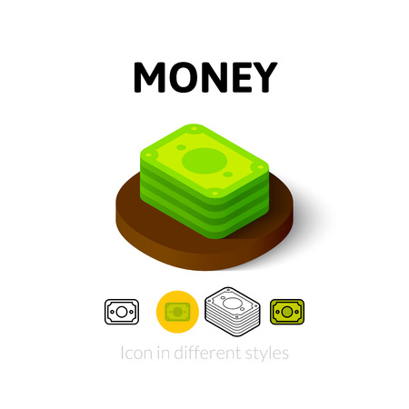 Money icon, vector symbol in flat, outline and isometric style