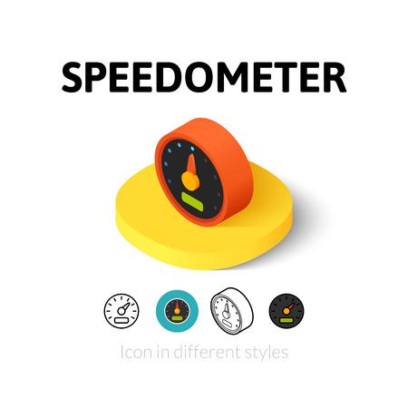 velocímetro: icono de indicador de velocidad, símbolo del vector en el plano, esquema y estilo isométrico