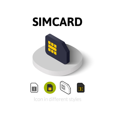 gsm: Simcard icon, vector symbol in flat, outline and isometric style Illustration