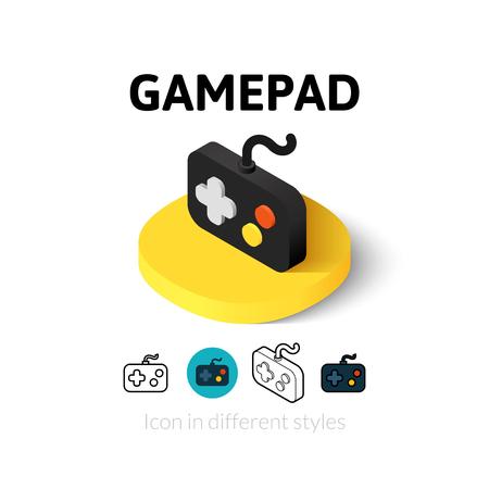 game icon: Gamepad icon, vector symbol in flat, outline and isometric style
