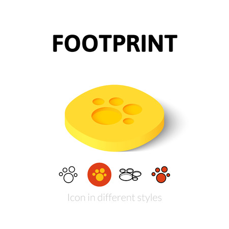 walking trail: Footprint icon, vector symbol in flat, outline and isometric style