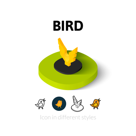 3d dove: Bird icon, vector symbol in flat, outline and isometric style