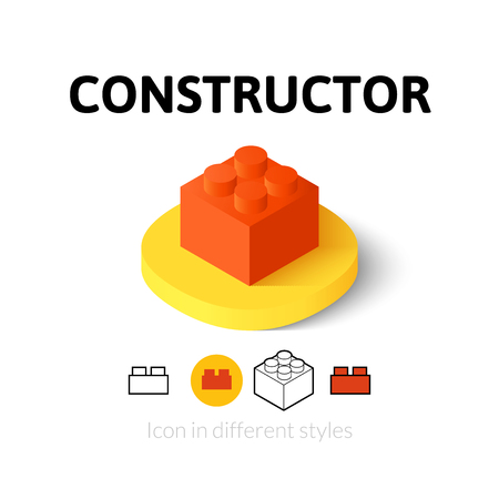 brick: Constructor icon, vector symbol in flat, outline and isometric style
