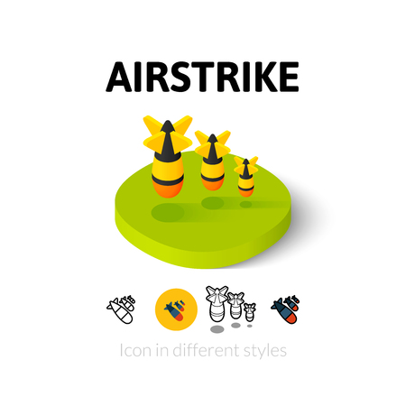 hydrogen bomb: Airstrike icon, vector symbol in flat, outline and isometric style