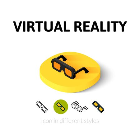 Virtual reality icon, vector symbol in flat, outline and isometric style Stock Vector - 46512652
