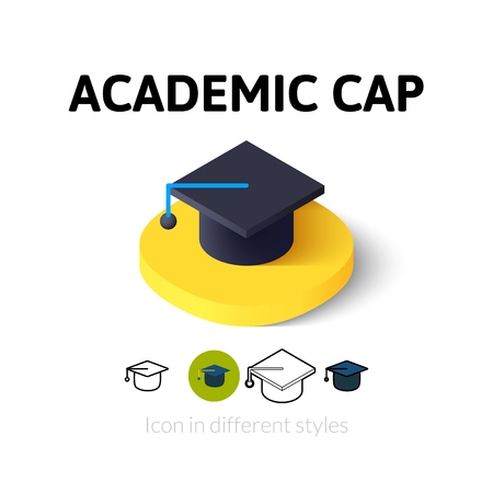 academic symbol: Academic cap icon, vector symbol in flat, outline and isometric style