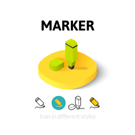 tip style design: Marker icon, vector symbol in flat, outline and isometric style Illustration