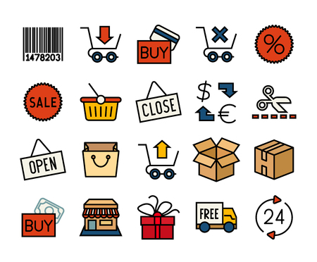 Outline icons thin flat design, modern line stroke style, web and mobile design element, objects and vector illustration icons set 20 - sales and retail collection Ilustrace