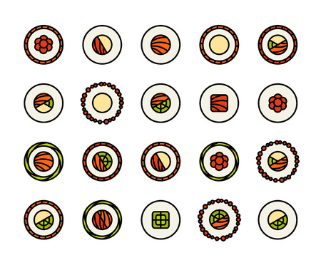 sushi: Outline icons thin flat design, modern line stroke style, web and mobile design element, objects and vector illustration icons set 17 - sushi collection