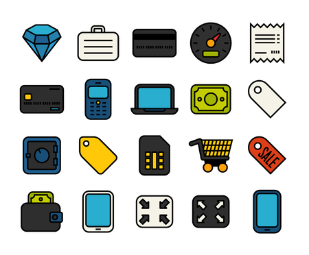 Outline icons thin flat design, modern line stroke style, web and mobile design element, objects and vector illustration icons set 9 - shopping and finance collection Illustration