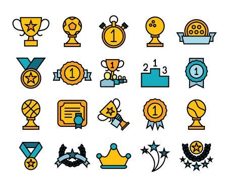 reconocimientos: Iconos del esquema de diseño delgado plana, línea moderna estilo de trazo, web y diseño elemento móvil, objetos y la ilustración vectorial Icons Set 28 - premios y premios ganadores de recogida