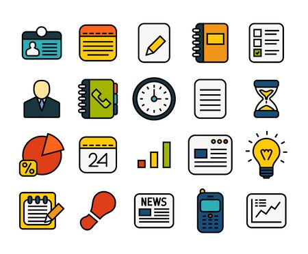 Outline icons thin flat design, modern line stroke style, web and mobile design element, objects and vector illustration icons set 8 - business collection