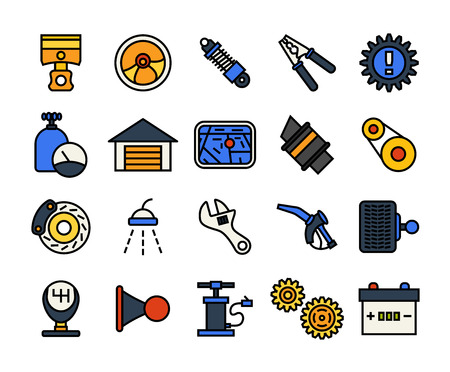 timing belt: Outline icons thin flat design, modern line stroke style, web and mobile design element, objects and vector illustration icons set 24 - car parts and services collection