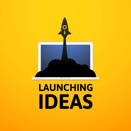 Black rocket and laptop, icon in flat style isolated on yellow background, vector illustration