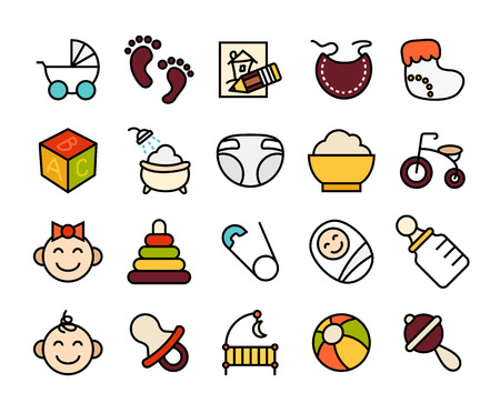 childhood: Outline icons thin flat design, modern line stroke style, web and mobile design element, objects and vector illustration icons set 27 - baby and childhood collection Illustration
