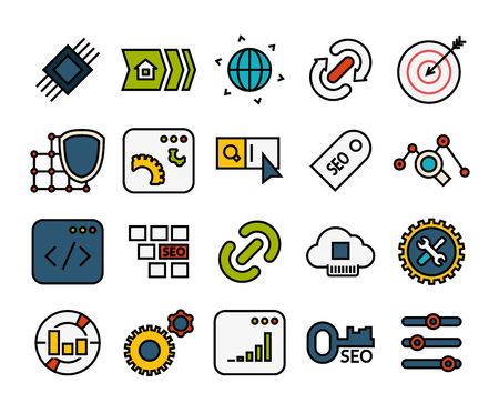debugging: Outline icons thin flat design, modern line stroke style, web and mobile design element, objects and vector illustration iconsset 22 - SEO and Development collection