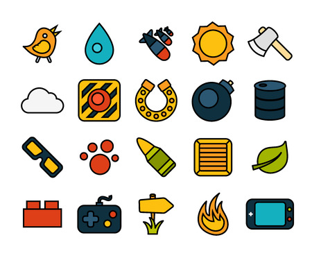 stroke of luck: Outline icons thin flat design, modern line stroke style, web and mobile design element, objects and vector illustration icons set 4 - game collection
