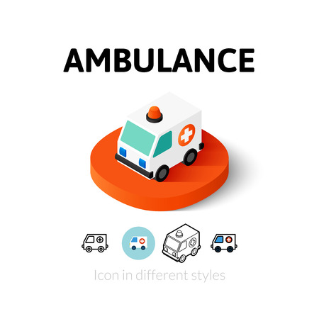 Ambulance icon, vector symbol in flat, outline and isometric style Illustration