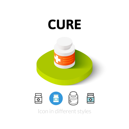 cure: Cure icon, vector symbol in flat, outline and isometric style