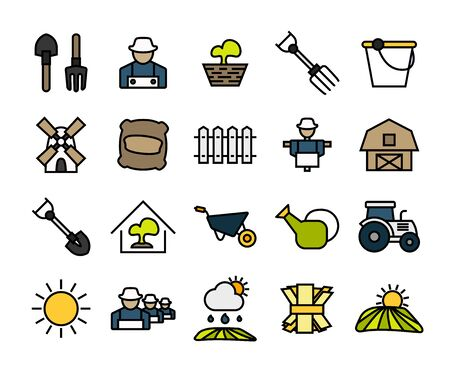 Outline icons thin flat design, modern line stroke style, web and mobile design element, objects and vector illustration icons set 26 - farm and farming collection
