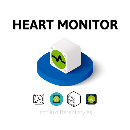heart monitor: Heart monitor icon, vector symbol in flat, outline and isometric style Illustration