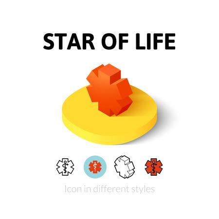 star life: Estrella de la vida icono, s�mbolo del vector en el plano, esquema y estilo isom�trico