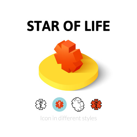ems: Star of life icon, vector symbol in flat, outline and isometric style
