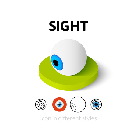 sight: Sight icon, vector symbol in flat, outline and isometric style Illustration