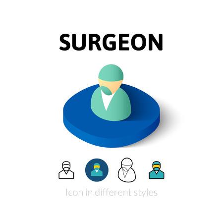 cirujano: cirujano icono, símbolo del vector en el plano, esquema y estilo isométrico